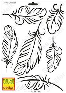 Schablone-Stencil-A4-019-1330-Feder-Konturen-Neu-Heike-Schaefer-Design
