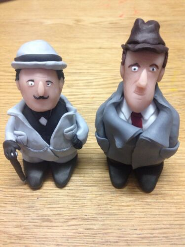 "HERCULE Poirot /& CAPITANO Hastings 2.5/"" Agatha Christie FIGURINA CLAY cake topper"