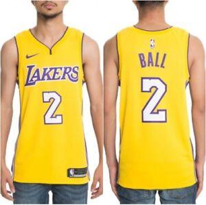 buy online 16ce5 d9bd7 Details about NWT NIKE DRI-FIT NBA LA LAKERS LONZO BALL #2 YELLOW SWINGMAN  JERSEY LG & XL $110