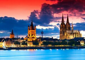Cool-Cologne-Cathedral-Poster-Size-A4-A3-Germany-Landscape-Poster-Gift-12203