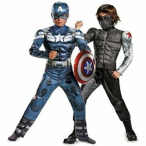 NEW Captain America Boys muscles Reversible Costume Movie Dress Up 6 Deluxe 2in1