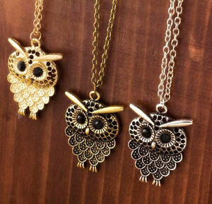 Women-Vintage-Cute-Bronze-Owl-Pendant-Long-Sweater-Chain-Necklace-Jewelry-Gift