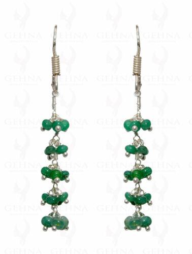 Emerald Gemstone Bead Earring In .925 Sterling Silver ES1655