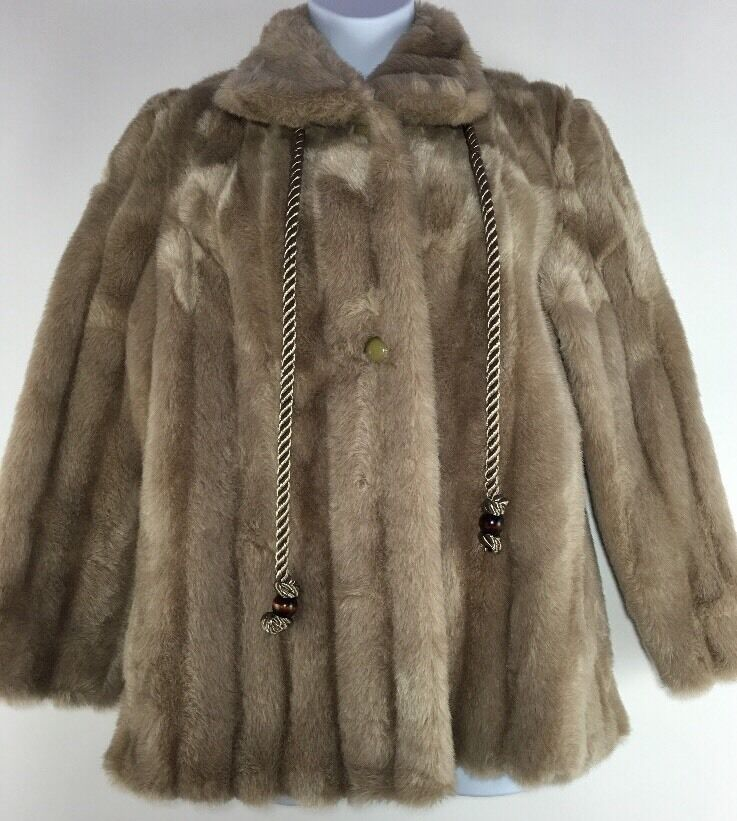 Vintage Taupe Brown Passport Faux Fur Coat Lined Estimated Medium Bust 42-44