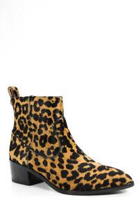 Veronica Beard Womens Animal Print Tanner Ankle Booties Brown Black Size 8.5