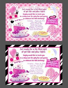 CUSTOM SLUMBER PARTY SLEEPOVER BIRTHDAY PARTY INVITATION THANK U