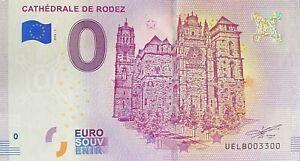 BILLET-0-EURO-CATHEDRALE-DE-RODEZ-FRANCE-2018-NUMERO-3300