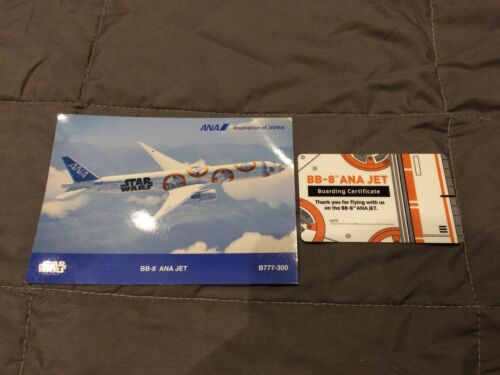 ANA Star Wars Boarding Certificate Card BB-8 Jet And Postcard All Nippon Airways