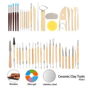 45-X-DIY-poterie-argile-sculpture-sculpter-Modeling-outils-ceramic-Kit-Craft-Set