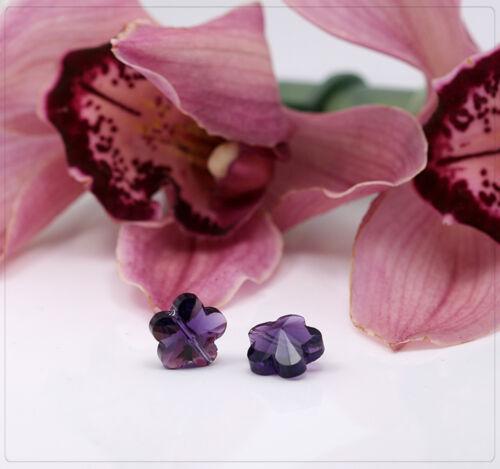8x cuentas de vidrio cristal perlas beads joyas DIY bricolaje lila flores 13mm fb029