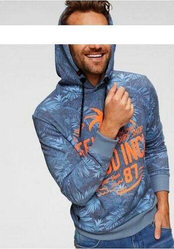 Timezone Herren Kapuzenpullover Hawaii Print Hoodie Sweatshirt mit Kapuze Blau