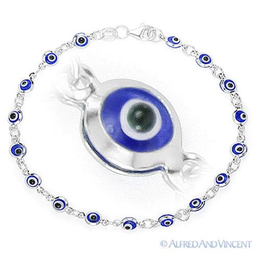 Evil Eye Turkish Nazar Greek Mati Hamsa Kabbalah Charm Sterling Silver Bracelet