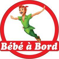 Sticker Enfant Bébé À Bord Peter Pan 16x16cm Réf 15140