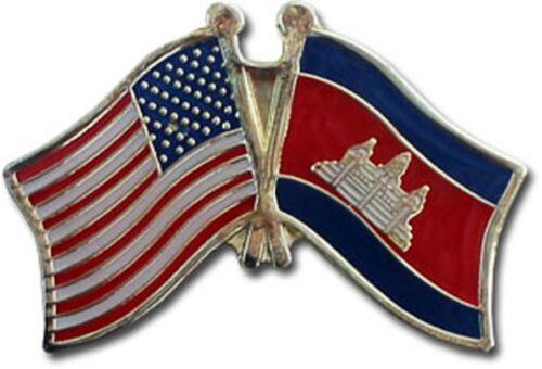 USA American Cambodia Friendship Flag Bike Motorcycle Hat Cap lapel Pin