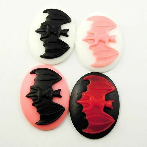 Random 8 pcs Oval Resin Bat Cabochons Flatbacks Multipurpose Crafts 39x30x7mm