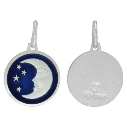 "5//8/"" Round Sterling Silver Enamel Moon Star Italian Pendant//Charm,18/"" Box Chain"