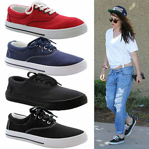 Ladies Women Girls Flat Lace Up Canvas Plimsolls Trainer Skater ... 8f9dcb238