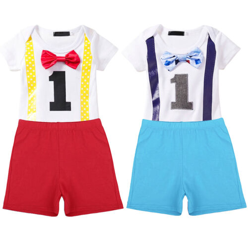 Toddler Baby Boys First Birthday Bow Tie Romper Bodysuit  Shorts Pants Outfits