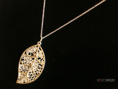 Sterling Silver Plated Leaf Pendant Necklace