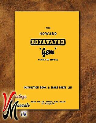 HOWARD 400 Rotavator Instruction /& Spare Parts Book USA Foldout Diagram