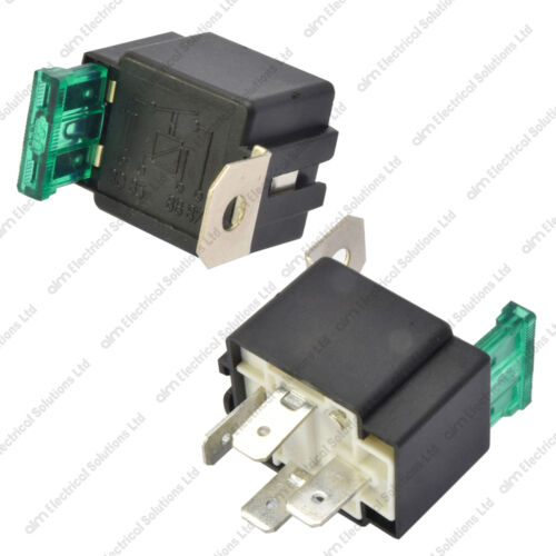 12V 4 Pin 30A Fused Relay With Bracket 12 Volt Normally Open On//Off Automotive