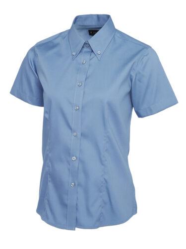 New Ladies Pinpoint Oxford Half Sleeve Shirt Smart Formal Dress Work Uniform Top