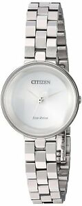 Citizen Eco-Drive Women's Ambiluna Silhouette Silver-Tone 25mm Watch EW5500-81A