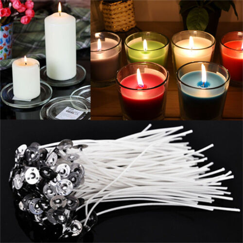 30x 100mm-10cm Pre Waxed Wicks For candle making with sustainers Best UK