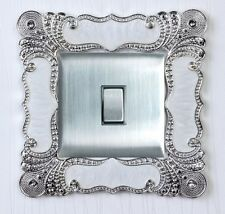 Silver Peacock Tail  Single Light Switch Surround Socket Finger Plate Cover