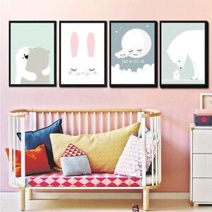 Image Is Loading Modern Cartoon Rabbit Bear Wall Painting Frameless Baby