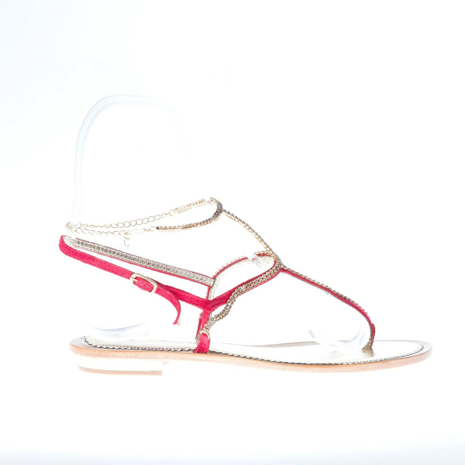 MASTRODOMENICO women shoes handmade in  Red suede  Positano  thong sandal