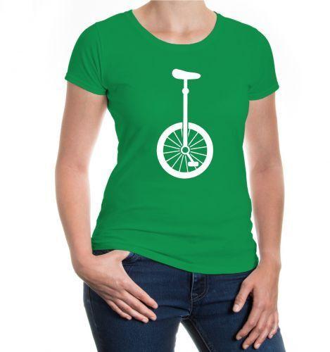 Damen Kurzarm Girlie T-Shirt Einrad-Silhouette Zirkus Akrobatik