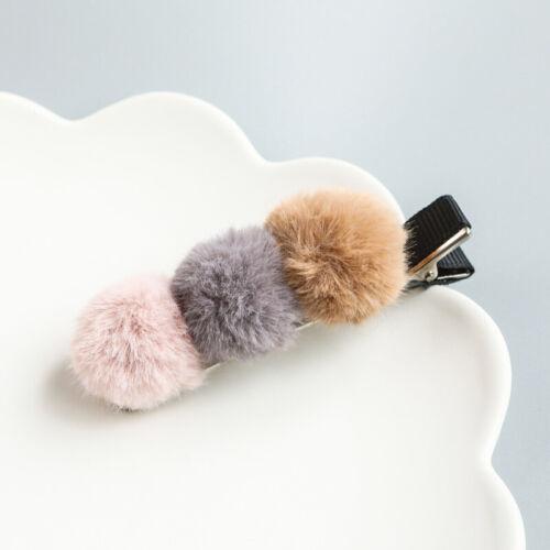Cute Fur Pompom Mini Ball Hair Clips Barrettes Baby Children Hairpins Headwear