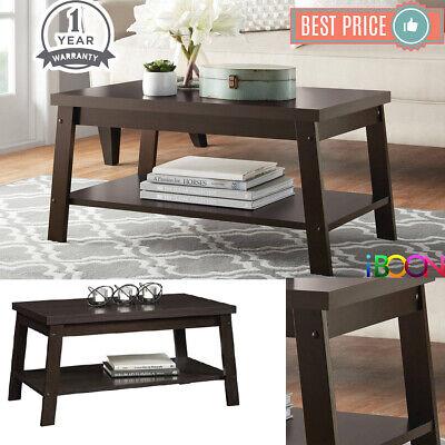 Wood Coffee Table Rectangular With Shelf Dark Brown Oak Modern Home Furniture Ebay