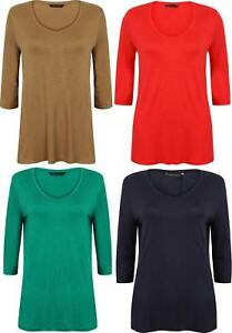 LADIES-TUNIC-TOP-SOFT-EX-FAMOUS-STORE-RED-NAVY-GREEN-CAMEL-SIZE-8-24-NEW-3-4