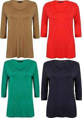 Ladies Tunic Top Soft Ex Famous Store Red Navy Green Camel Size 8 - 24 New 3/4 SorgfäLtige FäRbeprozesse