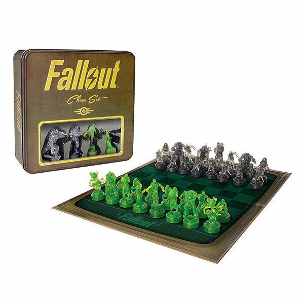 Fallout CHESS SET, Exclusive Collectible Tin Case Holographique PIECES, PIP-Boy