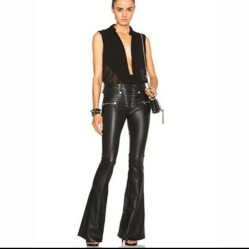 damen Fashion Spring Biker Punk Casual Trousers Medium Waist PU Leather Wide Leg