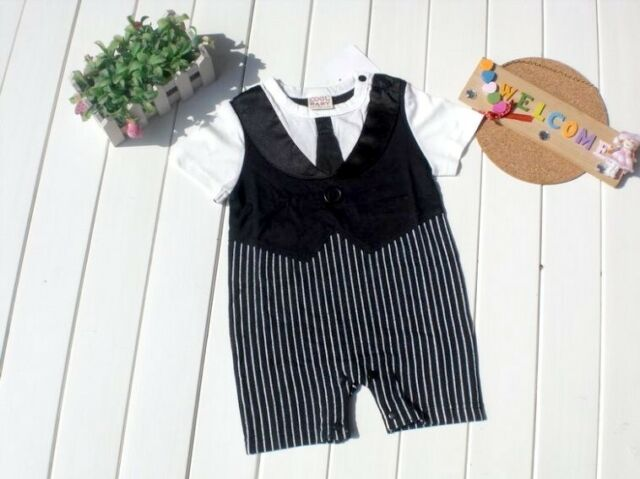 Baby Boy Formal Tuxedo One-Piece Romper Tie Suit Short sleeve SIZE 00/0 3-12 mos