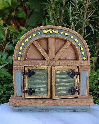 Miniature Dollhouse FAIRY GARDEN ~ Green Enchanted Window with Opening Shutters