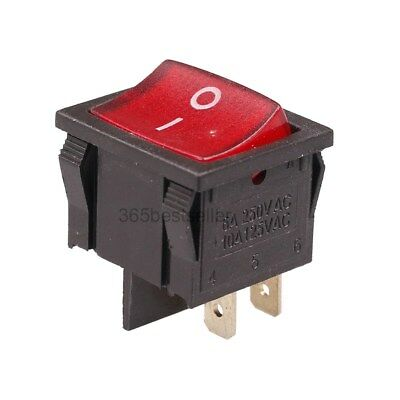 Red Light DPST ON//OFF Snap in Boat Rocker Switch 6A//250V 10A//125V AC 21x19mm