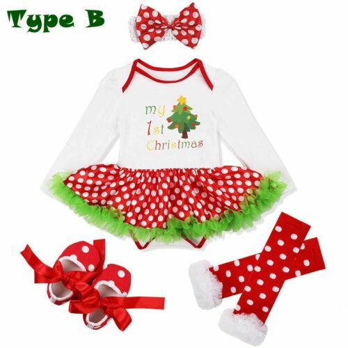 US Baby Girls Christmas Outfit Tops Polka Dot Tutu Leggings Skirt Party Costume