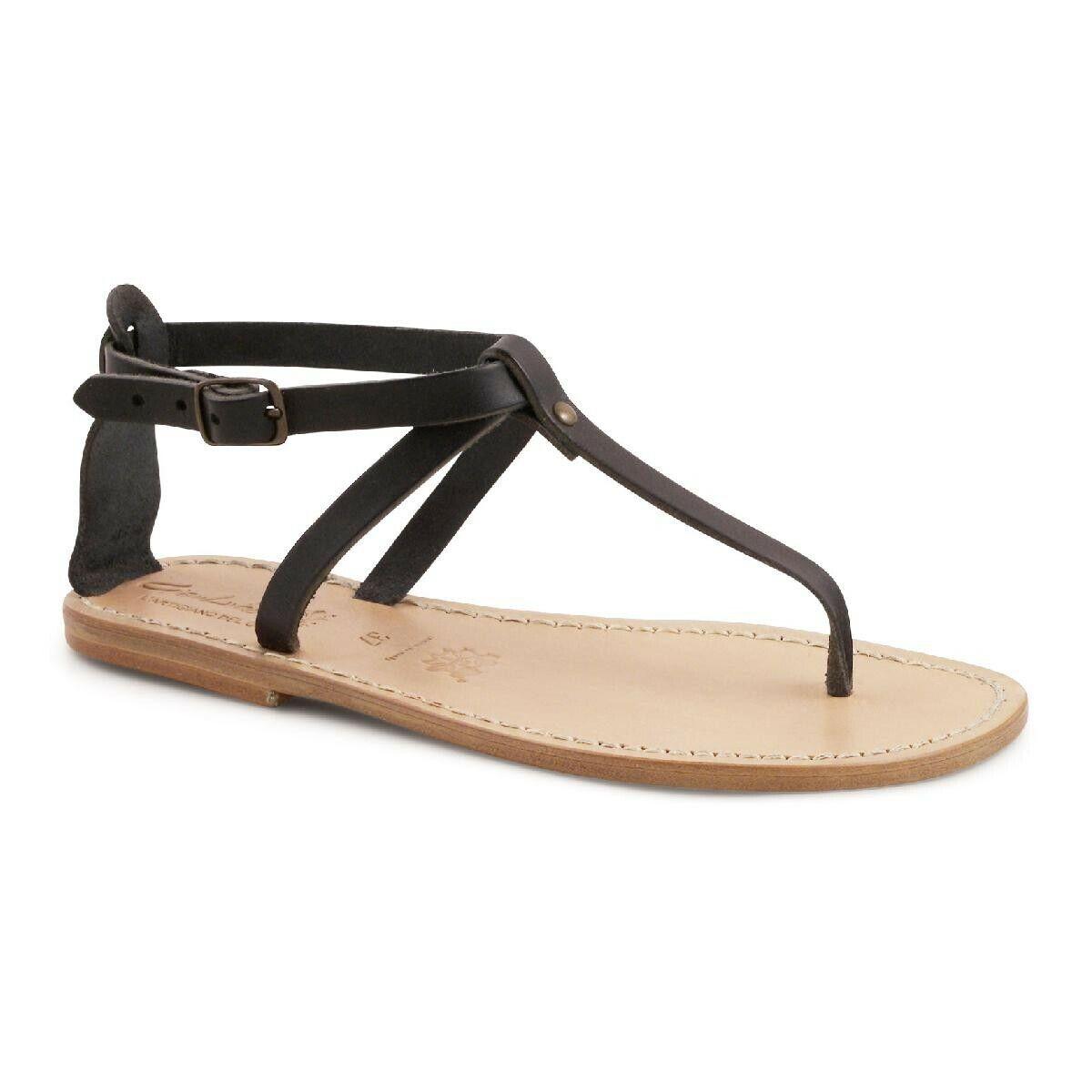 Maschere Donna T  -brep sandali aperte Scarpe piatte in pelle Marroneee scuro Made in   tempo libero