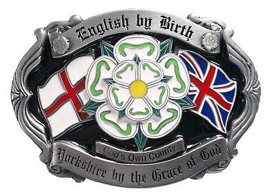 """""""inglese Di Nascita, Yorkshire Per La Grazia Di Dio"""" Fibbia Della Cintura-mostra Il Titolo Originale Materiale Selezionato"""