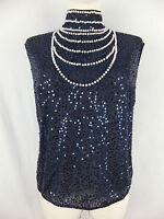ESCADA Luxus Top Blusentop Bluse Shirt 42  blau  m. Pailletten u. Perlen TOP