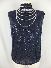ESCADA Luxus Top Blusentop Bluse Shirt 42  blau wie neu  m. Pailletten u. Perlen