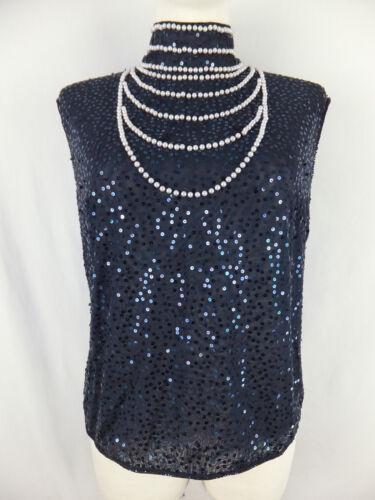 Bluse U Blau Perlen Shirt Luxus Escada M 42 Top Pailletten Blusentop xqwpOOfAB