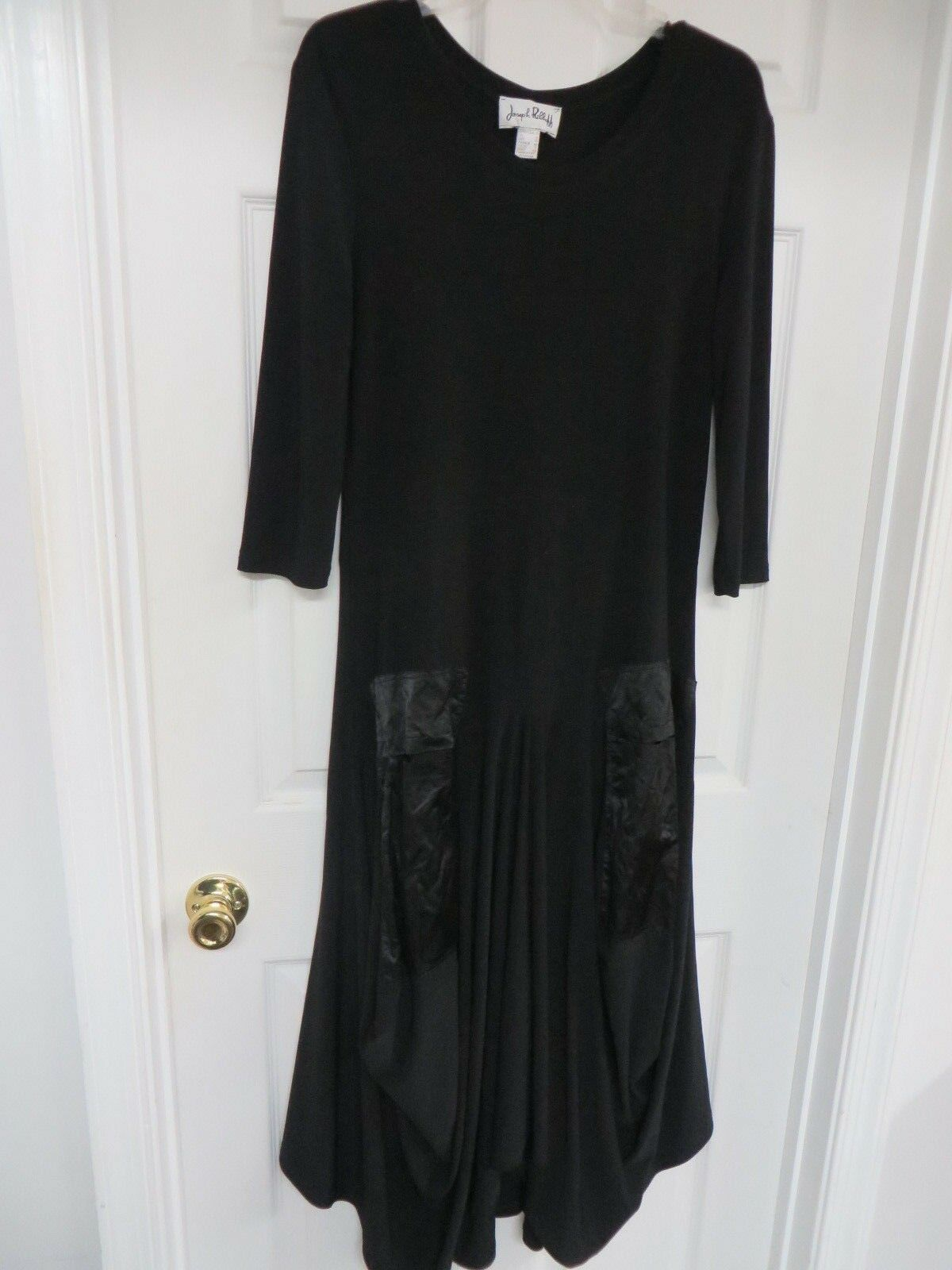 Joseph Ribkoff Knit 3 4 sleeve  Combo Pockets Draped skirt Long schwarz Dress US10
