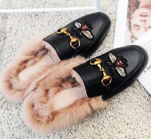 842c0bb1190 Womens Rabbit-Fur Lined Real Leather Princetown Slide Loafer Slipper ...