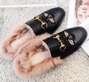 Damen-Mules-Leder-Kaninchenfell-Hausschuhe-Flache-Metal-Schuhe-Loafers-Slipper